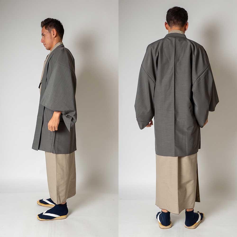 |送料無料|メンズ着物アンサンブル【対応身長170cm〜180cm】【 Lサイズ】フルセットー着物ベージュ×羽織グレー|往復送料無料|和服|お