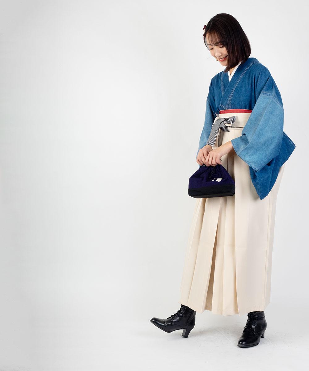 |送料無料|【対応身長157cm〜165cm】【キュート】卒業式レンタル袴フルセット-1528|デニム|青|水色|白|