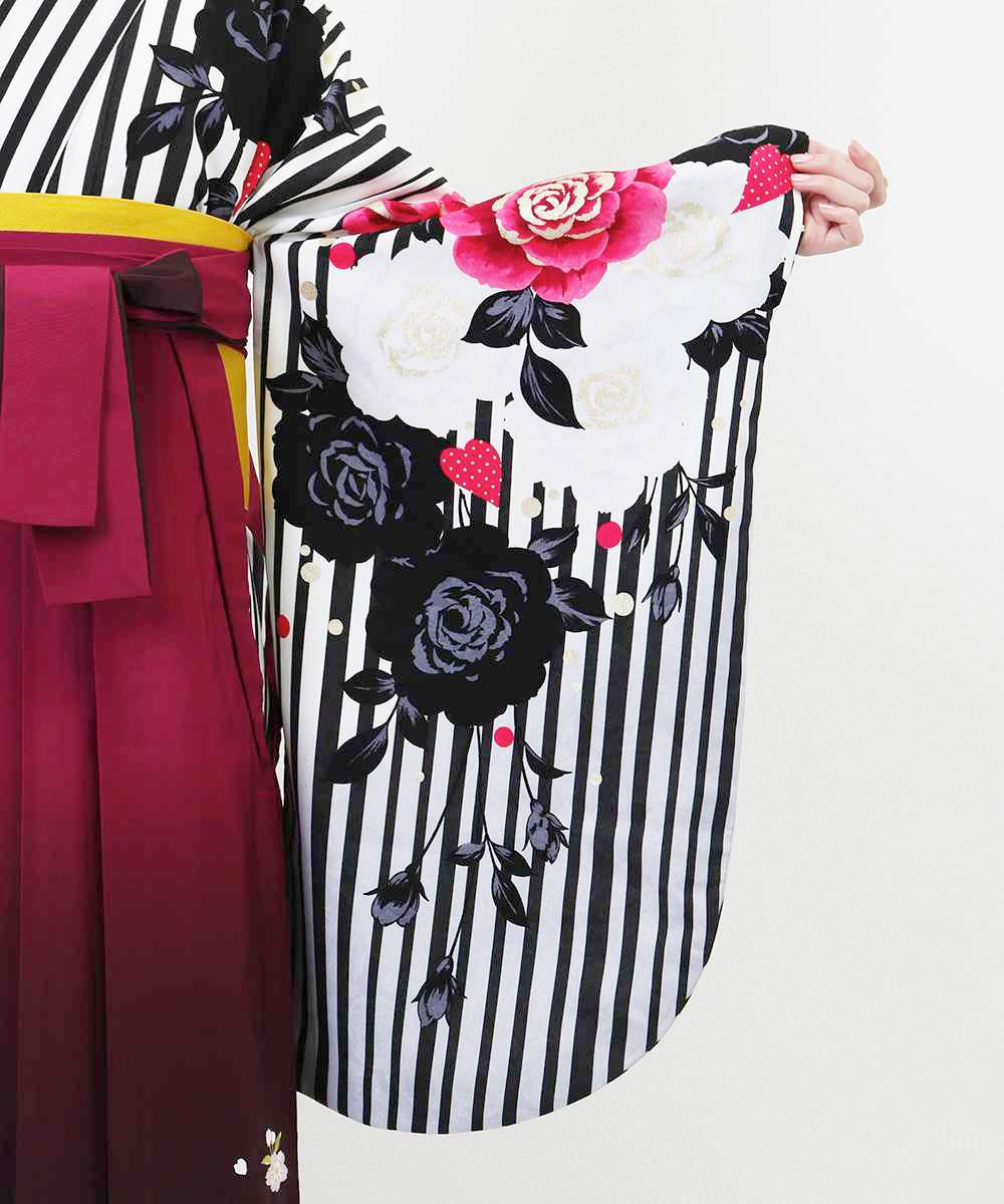 【h】|送料無料|【対応身長157cm〜165cm】【正統派】卒業式レンタル袴フルセット-1160|マルチカラー|花柄|薔薇|ストライプ|黒|白|ピ