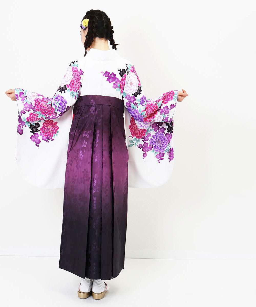 |送料無料|【対応身長157cm〜165cm】【キュート】卒業式レンタル袴フルセット-846|マルチカラー|花柄|牡丹|ピンク|白|紫|