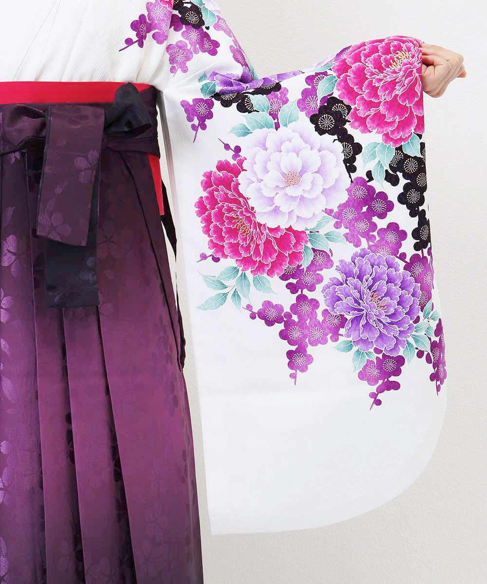 【h】|送料無料|【対応身長157cm〜165cm】【キュート】卒業式レンタル袴フルセット-846|マルチカラー|花柄|牡丹|ピンク|白|紫|