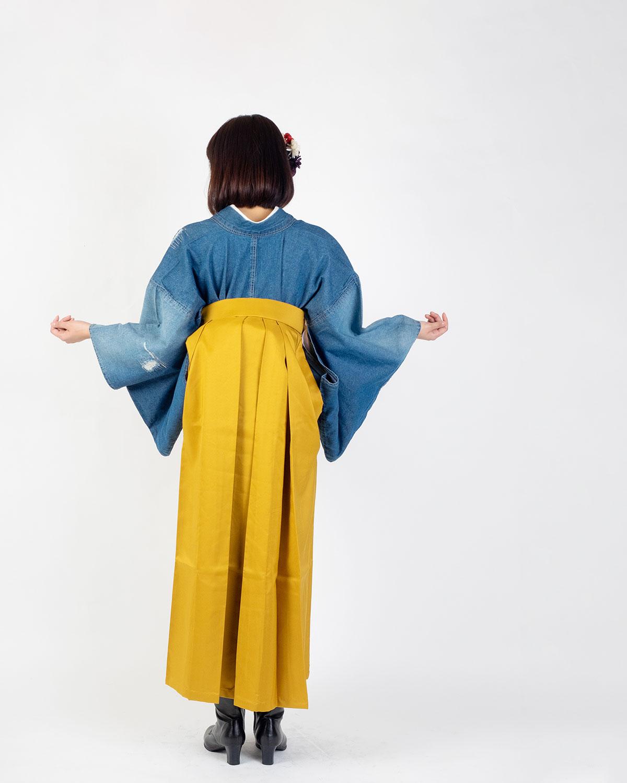 【対応身長157cm〜165cm】【キュート】卒業式レンタル袴フルセット-1529|クラッシュデニム|青|水色|黄色|