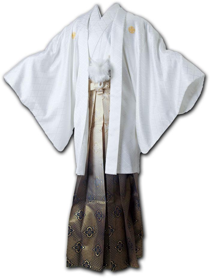 |送料無料|【成人式・卒業式】男性用レンタル紋付き袴フルセット-7049