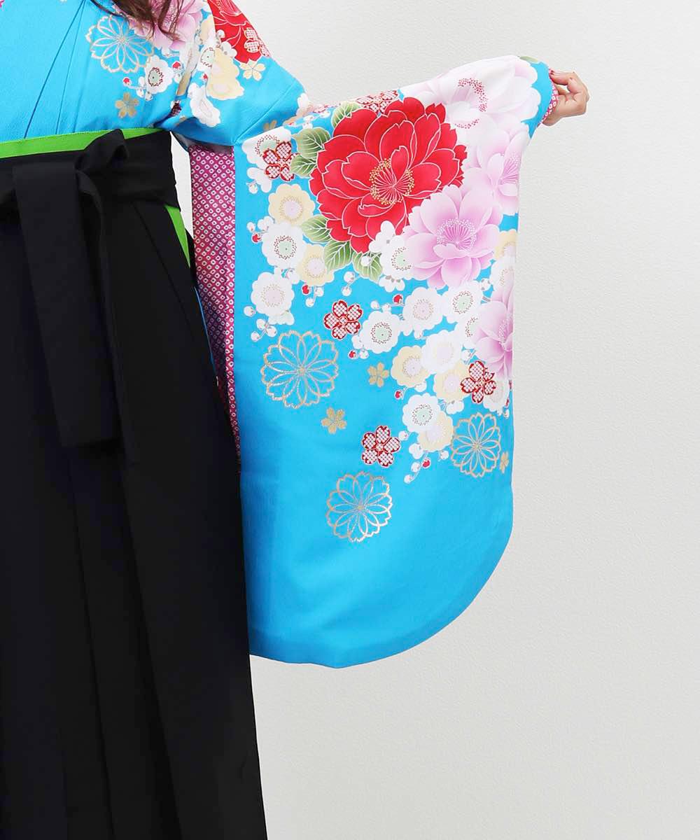 【h】|送料無料|【対応身長157cm〜165cm】【キュート】卒業式レンタル袴フルセット-955|マルチカラー|花柄|桜|水色|黒|