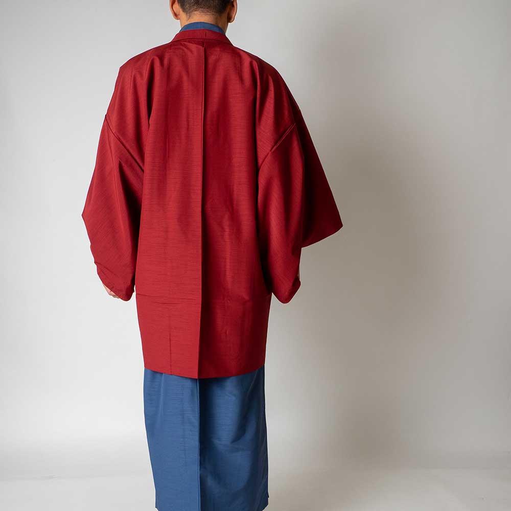  送料無料 メンズ着物アンサンブル【対応身長165cm〜175cm】【 Mサイズ】フルセットー着物ブルー×羽織レッド 往復送料無料 和服 お正