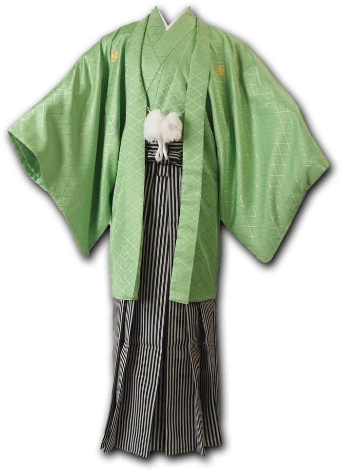 |送料無料|【成人式・卒業式】男性用レンタル紋付き袴フルセット-7050