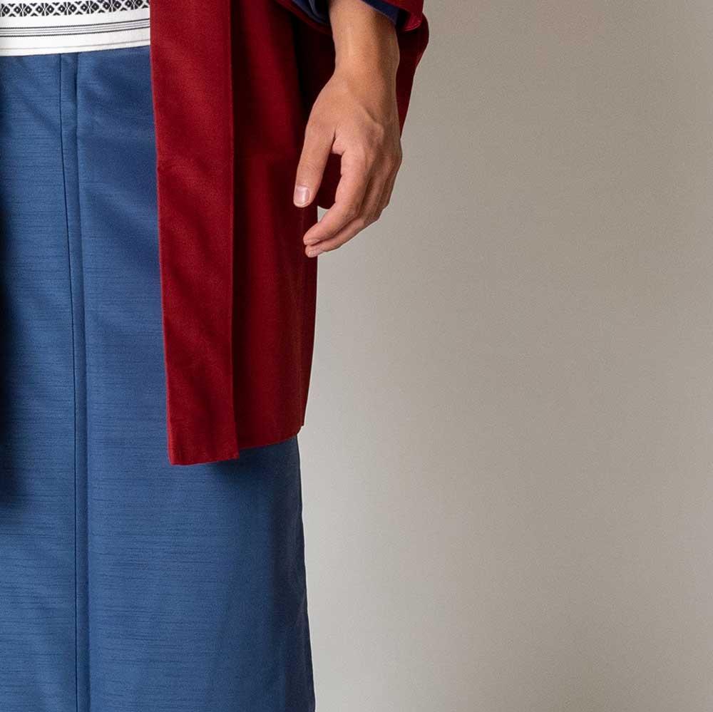 |送料無料|メンズ着物アンサンブル【対応身長160cm〜170cm】【 Sサイズ】フルセットー着物ブルー×羽織レッド|往復送料無料|和服|お正