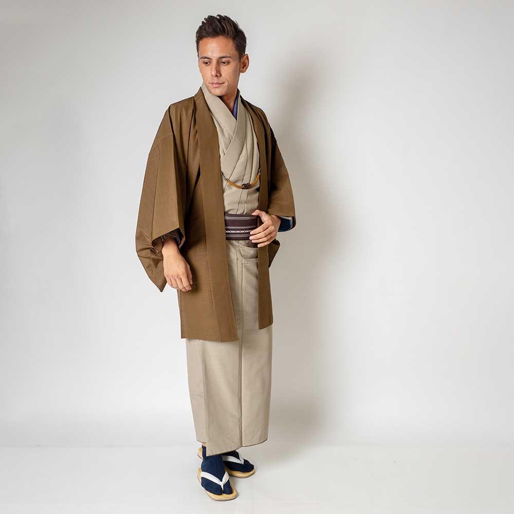 |送料無料|メンズ着物アンサンブル【対応身長160cm〜170cm】【 Sサイズ】フルセットー着物ベージュ×羽織ブラウン|往復送料無料|和服|