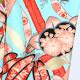 【成人式】 [安心の長期間レンタル]【対応身長155cm〜170cm】レンタル振袖フルセット-895 花柄 レトロ クール系 ポップキュート 水色系 赤系 総柄