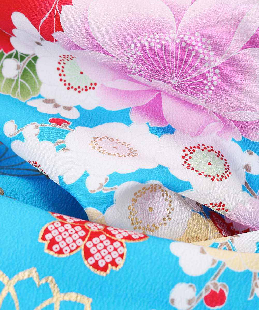 |送料無料|【対応身長157cm〜165cm】【キュート】卒業式レンタル袴フルセット-1025|マルチカラー|花柄|桜|水色|臙脂|