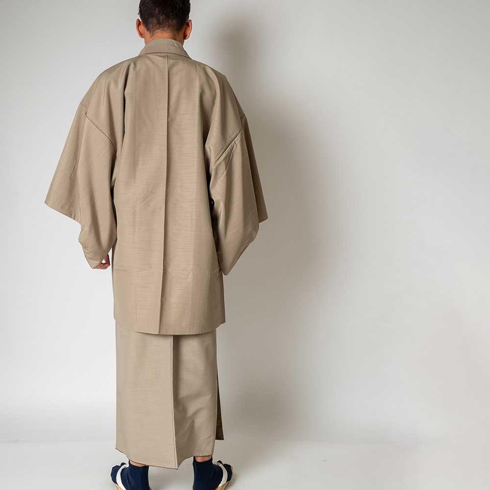 |送料無料|メンズ着物アンサンブル【対応身長170cm〜180cm】【 Lサイズ】フルセットー着物ベージュ×羽織ベージュ|往復送料無料|和服|