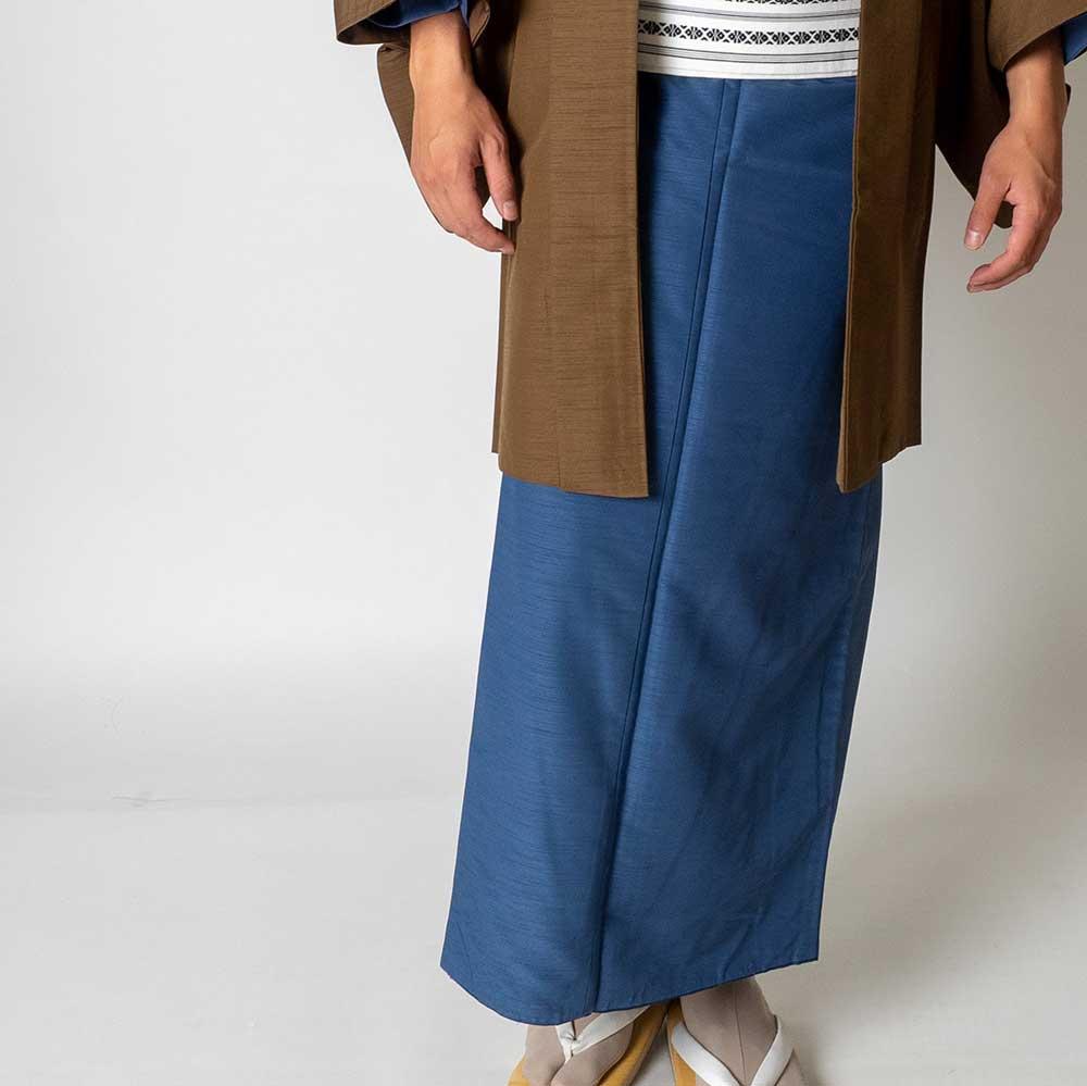 |送料無料|メンズ着物アンサンブル【対応身長175cm〜185cm】【 LLサイズ】フルセットー着物ブルー×羽織ブラウン|往復送料無料|和服|お