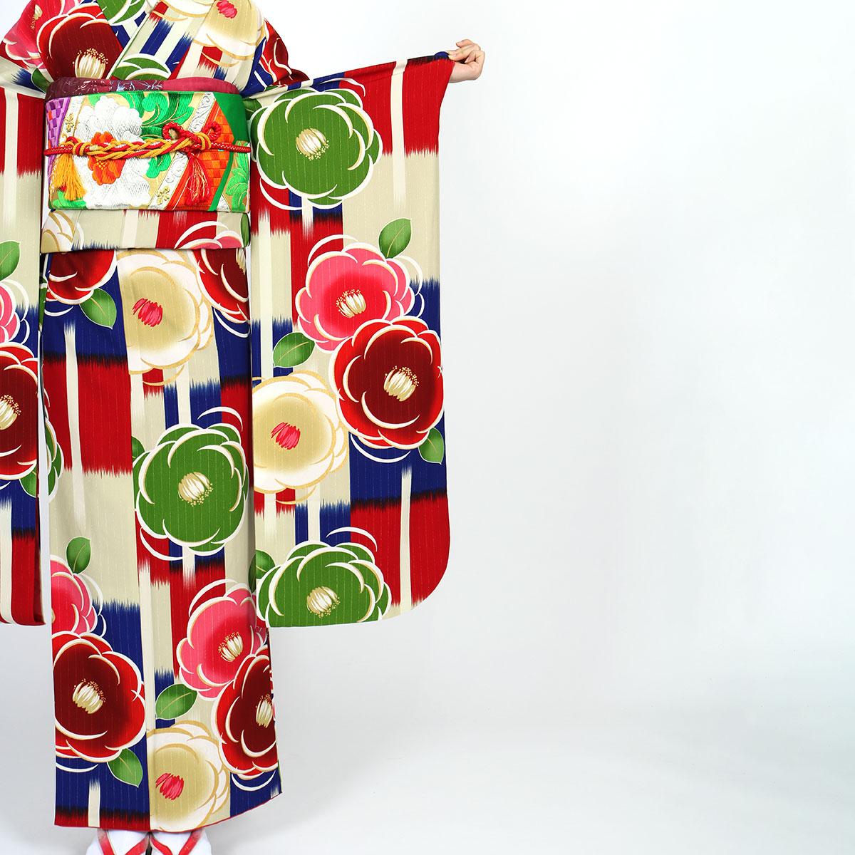 |送料無料|【レンタル】【成人式】 [安心の長期間レンタル]【対応身長155cm〜170cm】レンタル振袖フルセット-896|花柄|レトロ|ポップキ