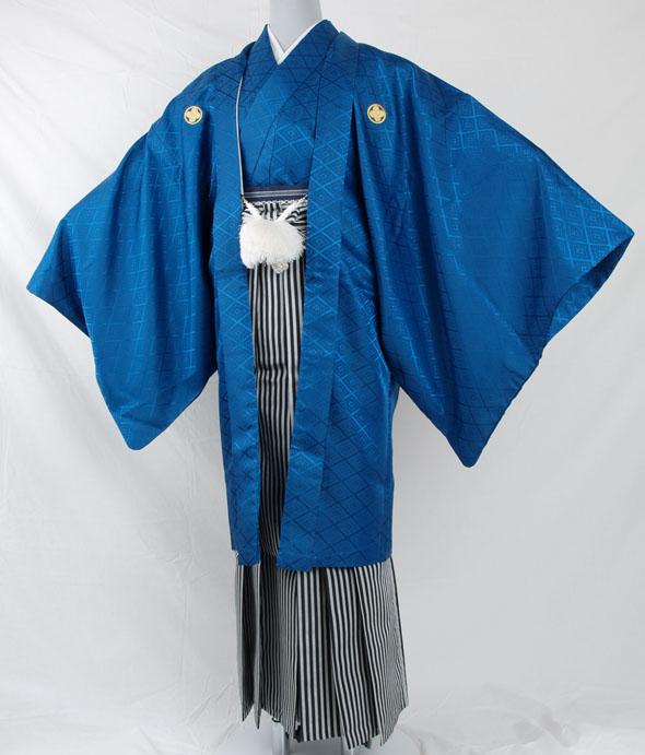 |送料無料|【成人式・卒業式】男性用レンタル紋付き袴フルセット-7052