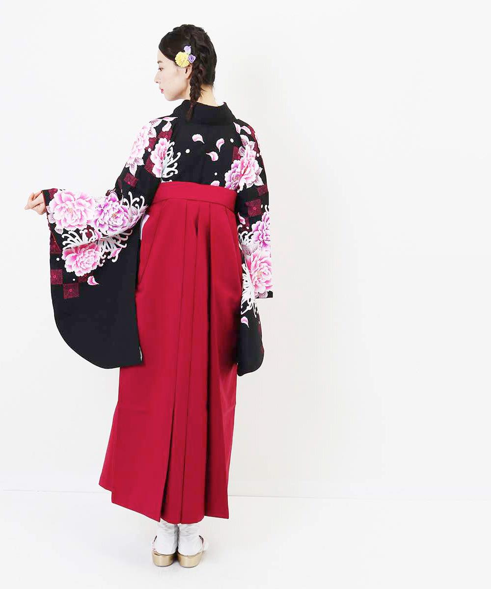 【h】|送料無料|【対応身長157cm〜165cm】【キュート】卒業式レンタル袴フルセット-1164|マルチカラー|花柄|牡丹|黒|ワイン|