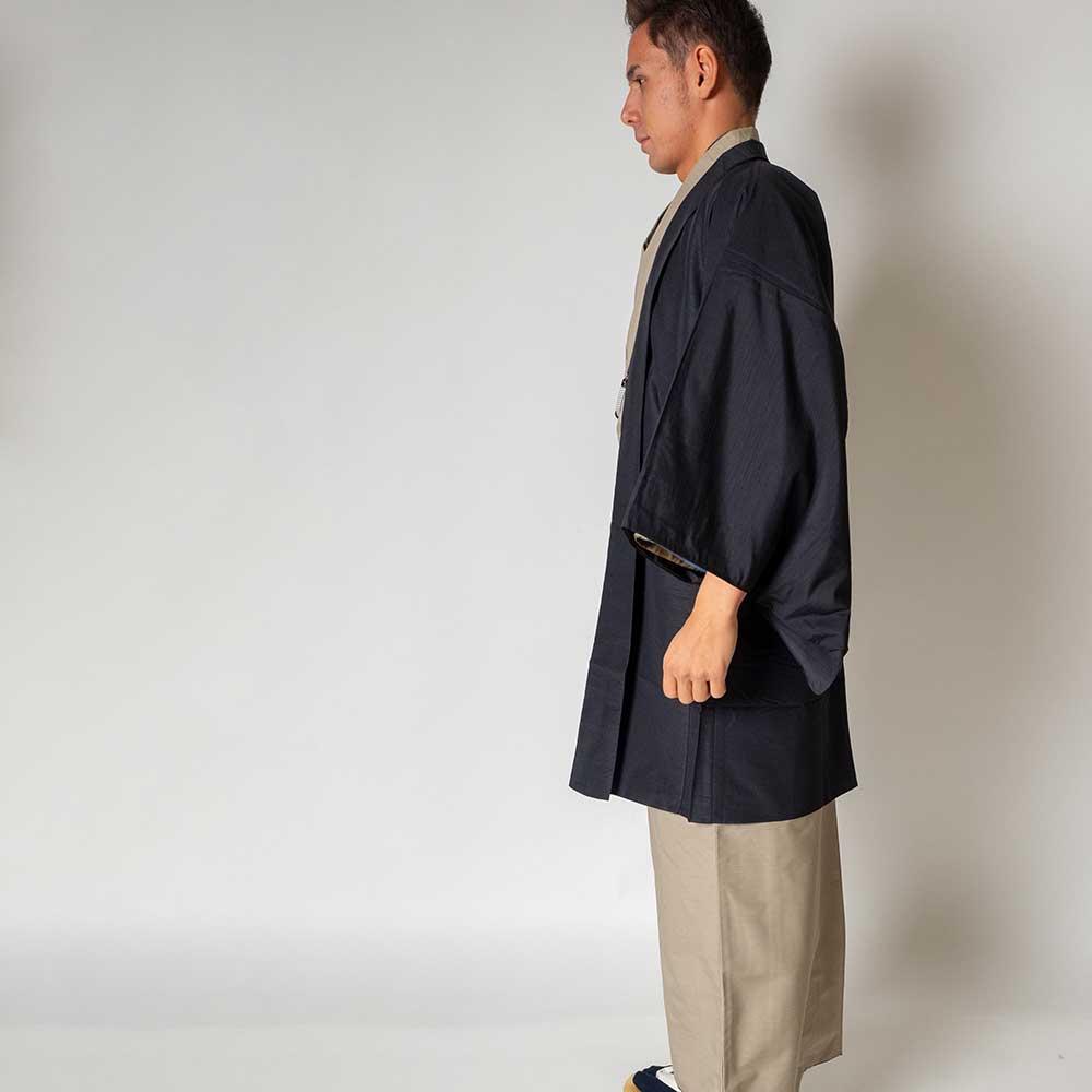 |送料無料|メンズ着物アンサンブル【対応身長170cm〜180cm】【 Lサイズ】フルセットー着物ベージュ×羽織ブラック|往復送料無料|和服|
