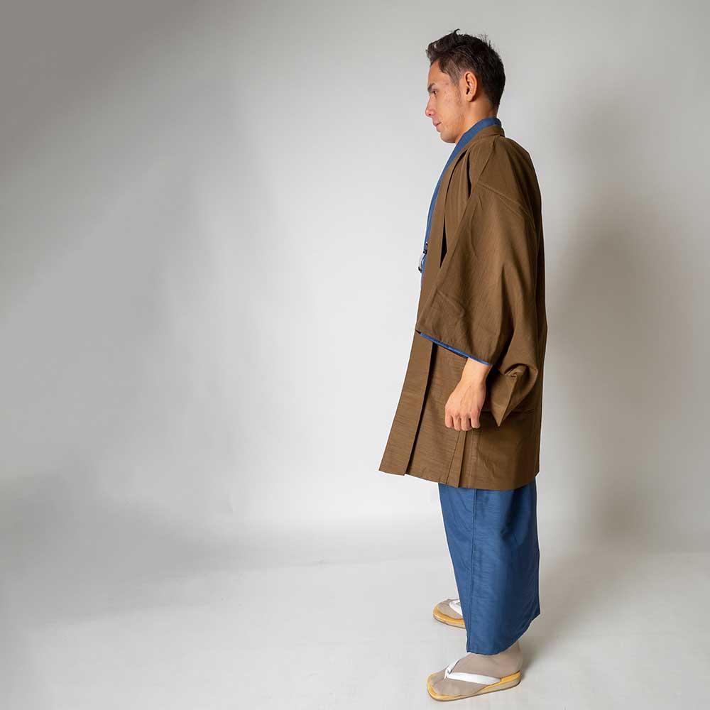 |送料無料|メンズ着物アンサンブル【対応身長180cm〜190cm】【 3Lサイズ】フルセットー着物ブルー×羽織ブラウン|往復送料無料|和服|お