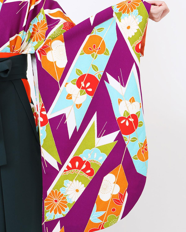 |送料無料|【対応身長157cm〜165cm】【レトロ】卒業式レンタル袴フルセット-1029|紫|緑|オレンジ|マルチカラー|矢絣|橘|菊|