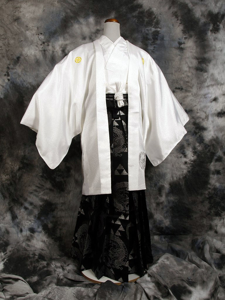 |送料無料|【成人式・卒業式】男性用レンタル紋付き袴フルセット-7054