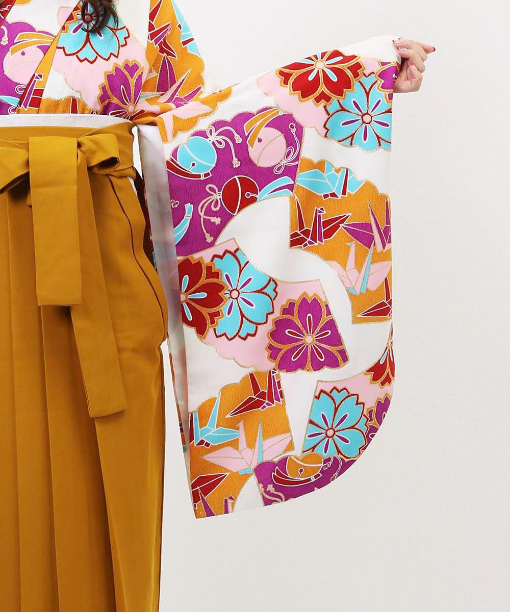 【h】 送料無料 【対応身長157cm〜165cm】【レトロ】卒業式レンタル袴フルセット-1030 マルチカラー 花柄 桜 鶴 白 からし色 