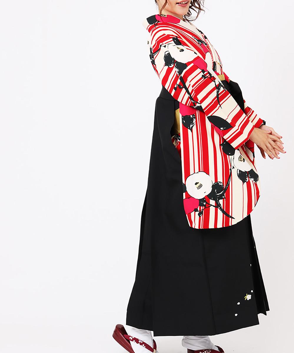 |送料無料|【対応身長157cm〜165cm】【レトロ】卒業式レンタル袴フルセット-1271|白|赤|ピンク|マルチカラー|ストライプ|