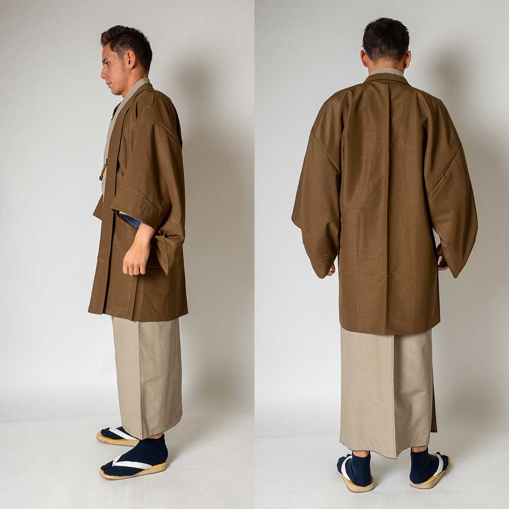 |送料無料|メンズ着物アンサンブル【対応身長170cm〜180cm】【 Lサイズ】フルセットー着物ベージュ×羽織ブラウン|往復送料無料|和服|
