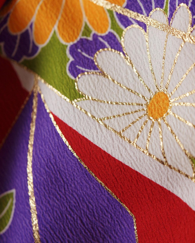  送料無料 【対応身長157cm〜165cm】【レトロ】卒業式レンタル袴フルセット-1031 矢絣 赤 紫 緑 からし色 