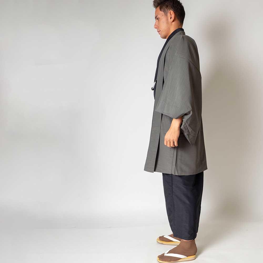 |送料無料|メンズ着物アンサンブル【対応身長170cm〜180cm】【 Lサイズ】フルセットー着物ブラック×羽織グレー|往復送料無料|和服|お
