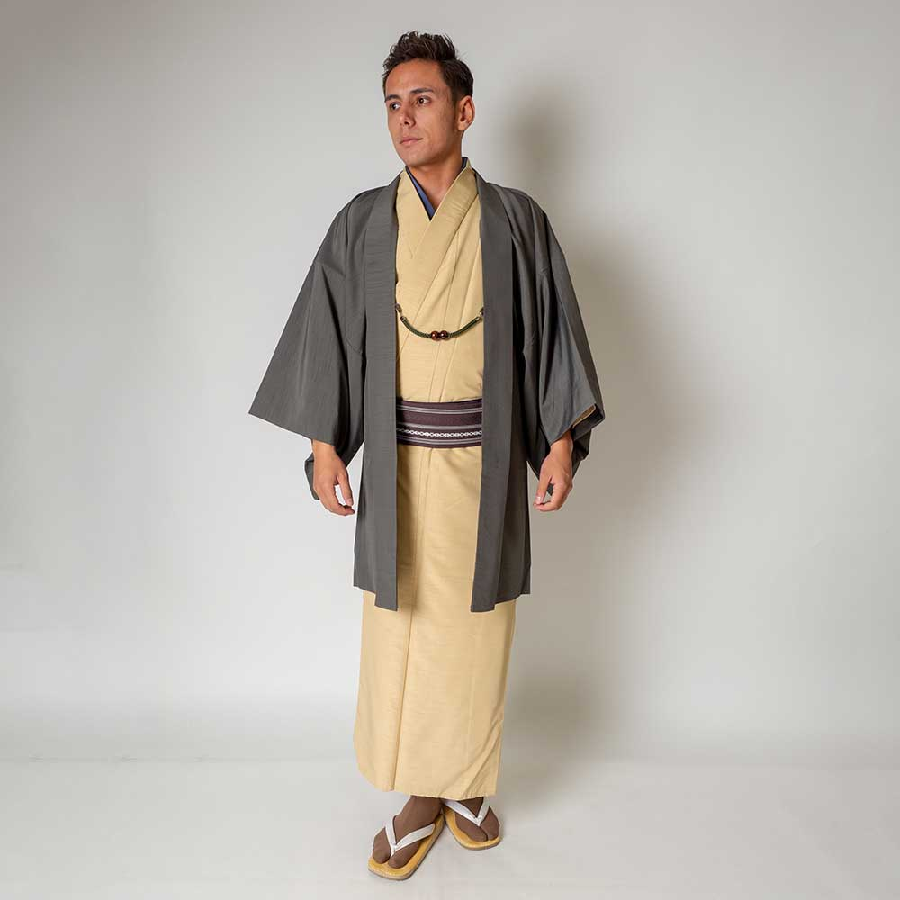 |送料無料|メンズ着物アンサンブル【対応身長175cm〜185cm】【 LLサイズ】フルセットー着物アイボリー×羽織グレー|往復送料無料|和服|
