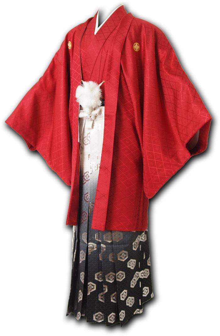  送料無料 【成人式・卒業式】男性用レンタル紋付き袴フルセット-7217