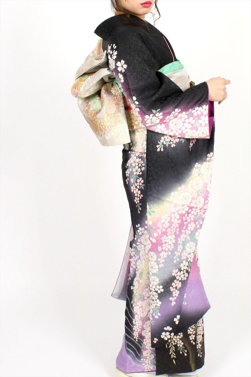 【成人式】 [安心の長期間レンタル]【対応身長150cm〜165cm】【正絹】レンタル振袖フルセット-418|花柄|クール系|定番|黒系|紫系|おぼろ|