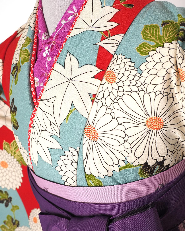 |送料無料|【対応身長157cm〜165cm】【レトロ】卒業式レンタル袴フルセット-1273|花柄|菊|紅葉|水色|オレンジ|赤|紫|