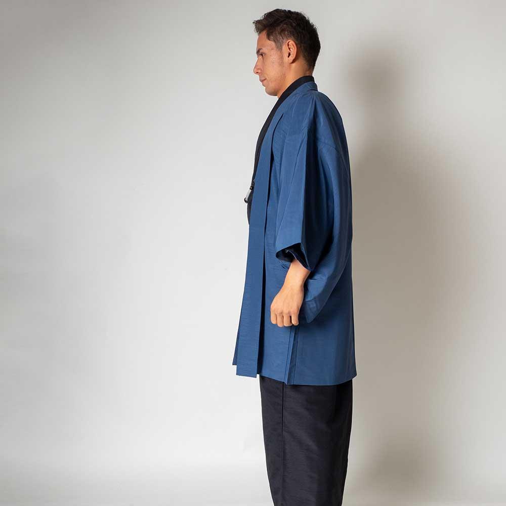 |送料無料|メンズ着物アンサンブル【対応身長170cm〜180cm】【 Lサイズ】フルセットー着物ブラック×羽織ブルー|往復送料無料|和服|お
