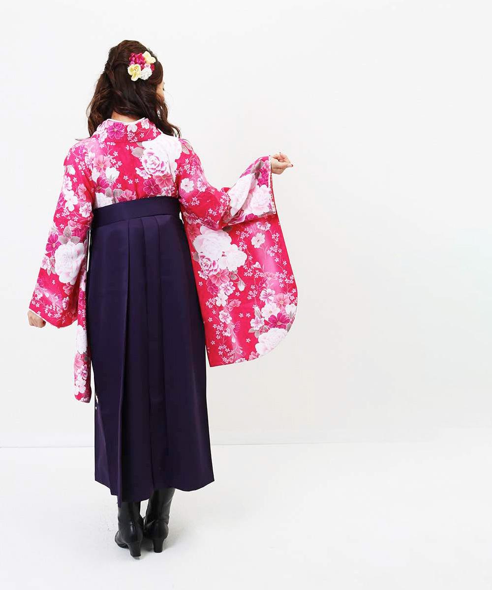 【h】|送料無料|【対応身長157cm〜165cm】【キュート】卒業式レンタル袴フルセット-1169|マルチカラー|花柄|牡丹|ピンク|紫|