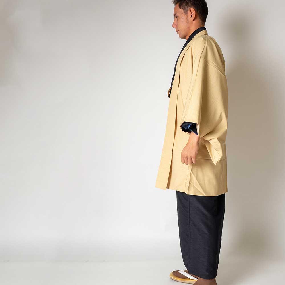 |送料無料|メンズ着物アンサンブル【対応身長170cm〜180cm】【 Lサイズ】フルセットー着物ブラック×羽織アイボリー|往復送料無料|和服