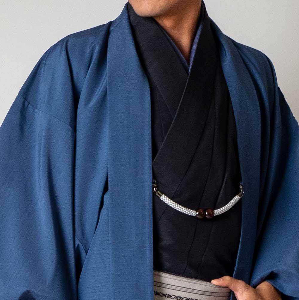 |送料無料|メンズ着物アンサンブル【対応身長165cm〜175cm】【 Mサイズ】フルセットー着物ブラック×羽織ブルー|往復送料無料|和服|お