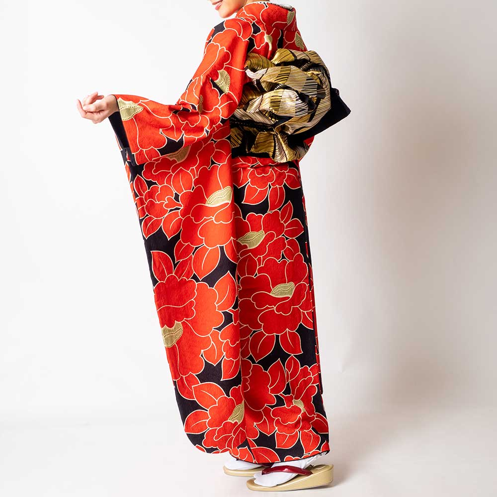 |送料無料|【レンタル】【成人式】 [安心の長期間レンタル]【対応身長155cm〜170cm】【正絹】レンタル振袖フルセット-317 花柄 レトロ