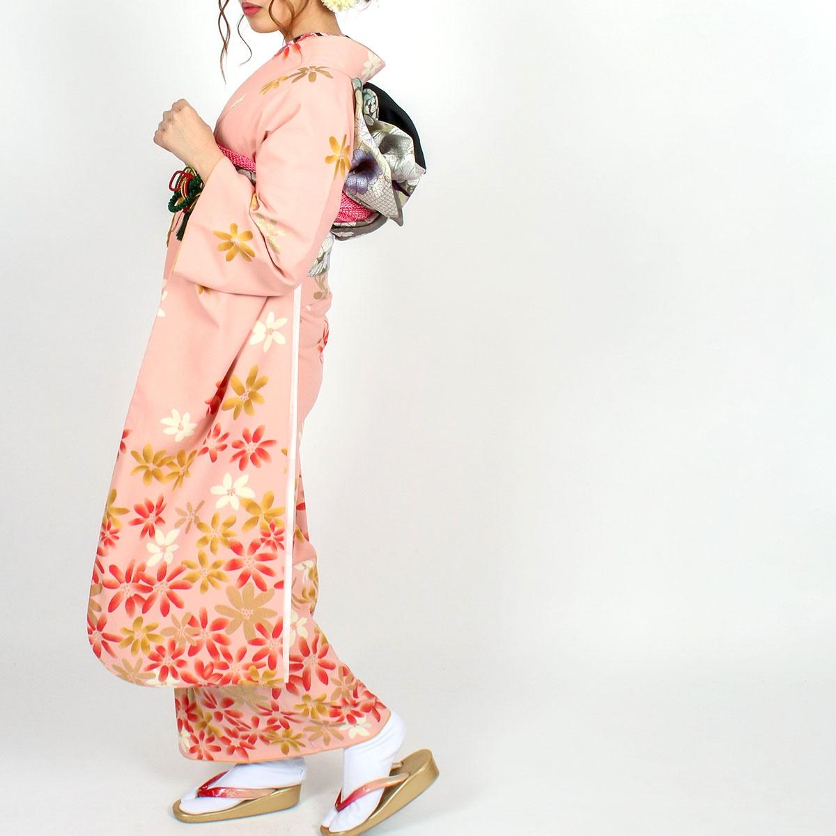 【成人式】 [安心の長期間レンタル]【対応身長150cm〜165cm】【合繊】レンタル振袖フルセット-633|レトロ|花柄|クール系|モダン|ピンク系|ツモリチサト