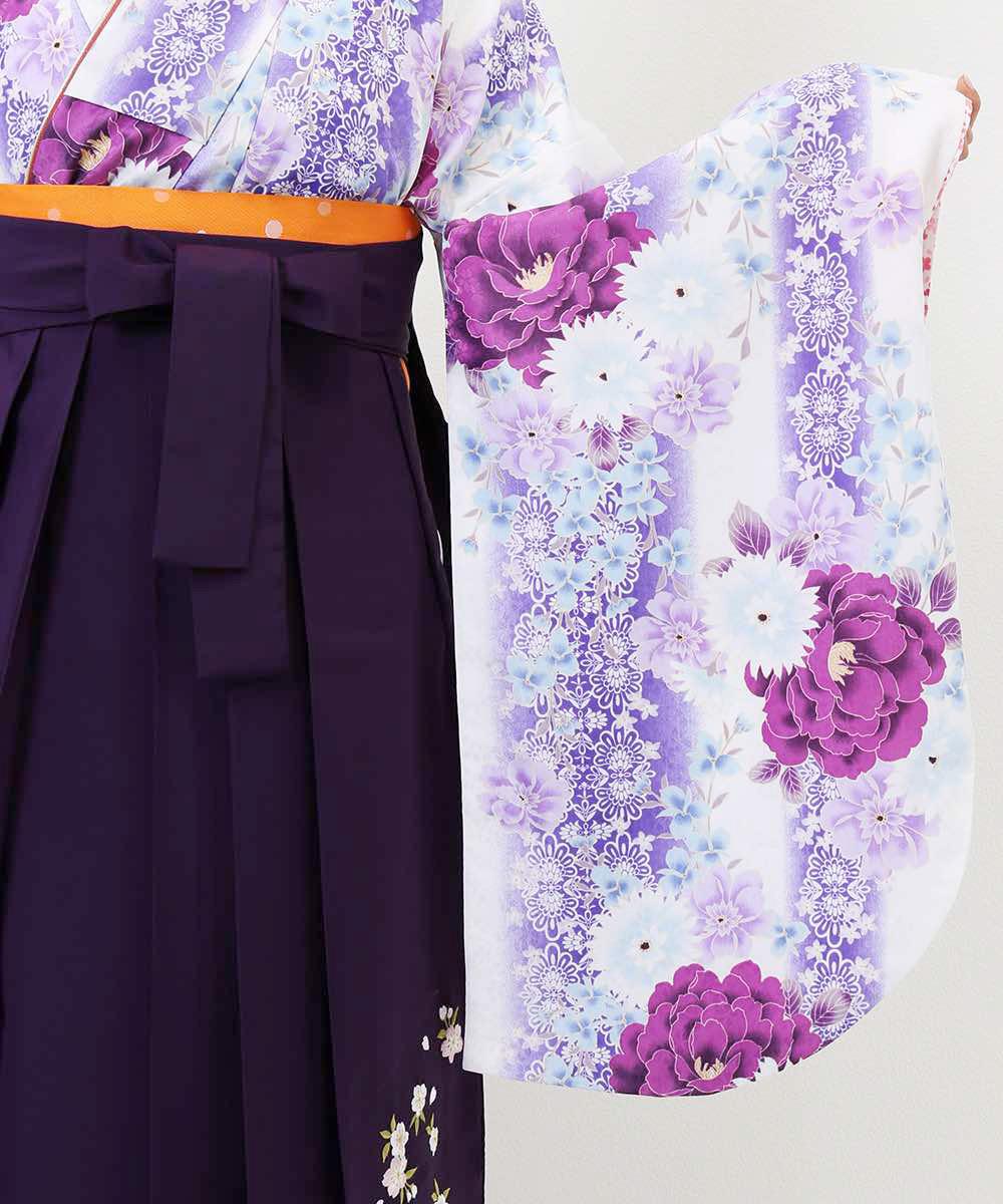 |送料無料|【対応身長157cm〜165cm】【キュート】卒業式レンタル袴フルセット-1172|マルチカラー|花柄|牡丹|白|紫|
