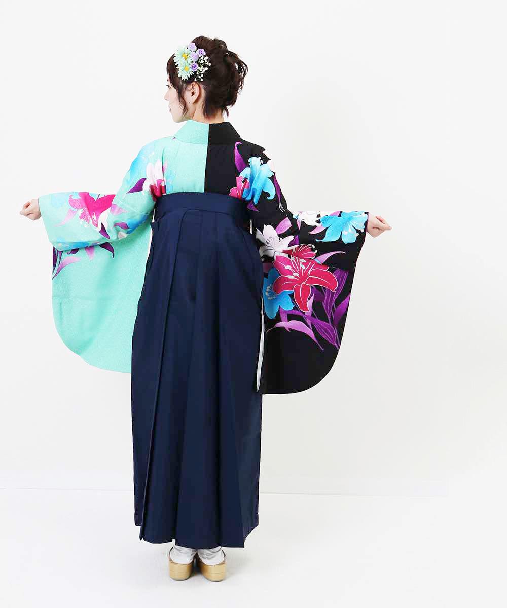 【h】|送料無料|【対応身長157cm〜165cm】【正統派】卒業式レンタル袴フルセット-965|マルチカラー|花柄|百合|緑|水色|紺|