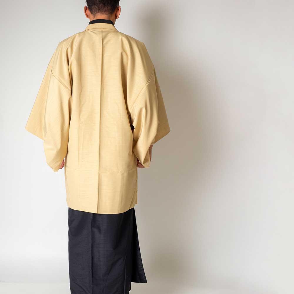 |送料無料|メンズ着物アンサンブル【対応身長175cm〜185cm】【 LLサイズ】フルセットー着物ブラック×羽織アイボリー|往復送料無料|和