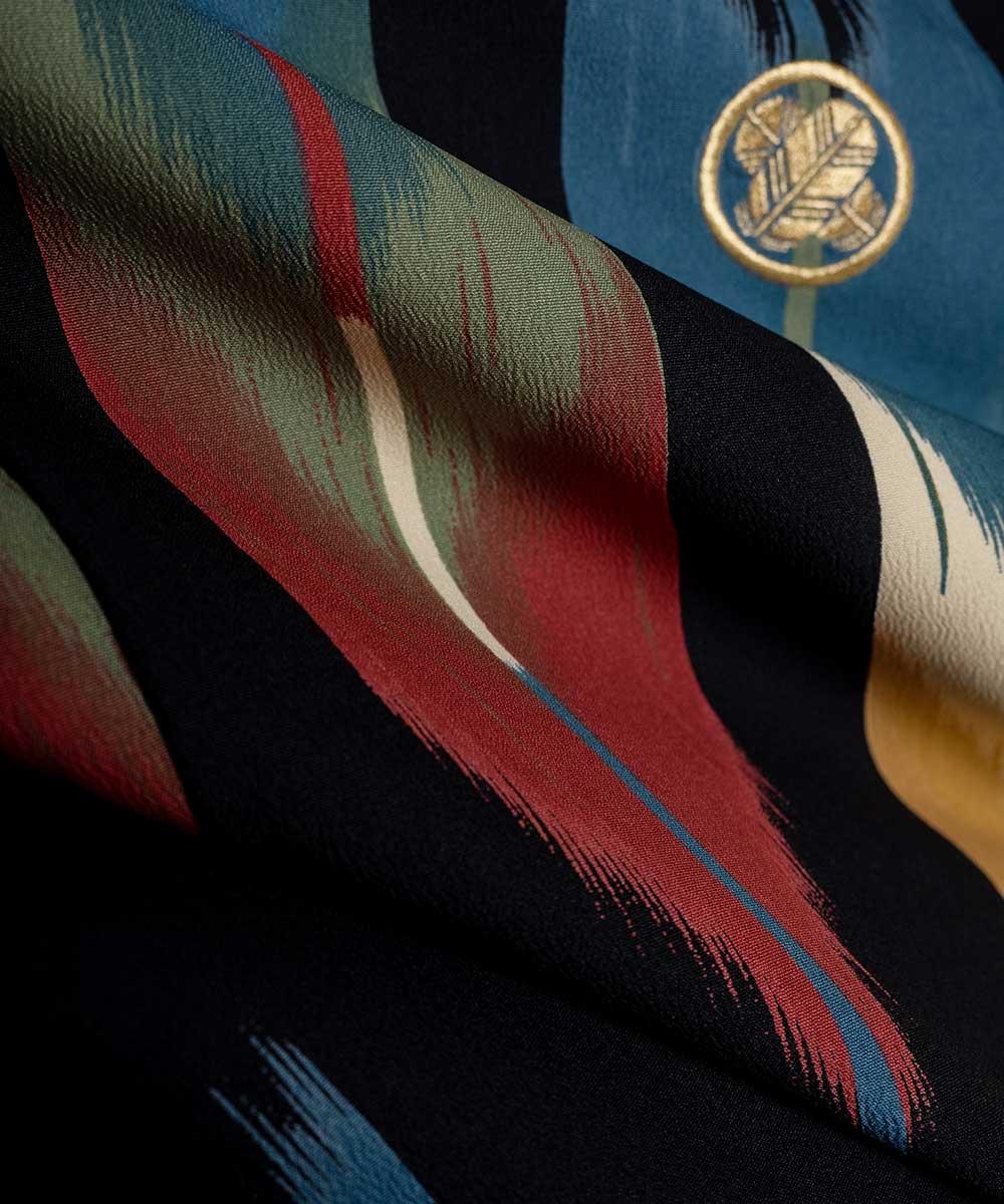 |送料無料|安心の最大1ヶ月レンタル可能|【レンタル】【対応身長170cm〜180cm】【成人式】【卒業式】男性用レンタル紋付き袴フルセット-7429|矢絣|マルチカラー|黒|緑|黄色|赤|