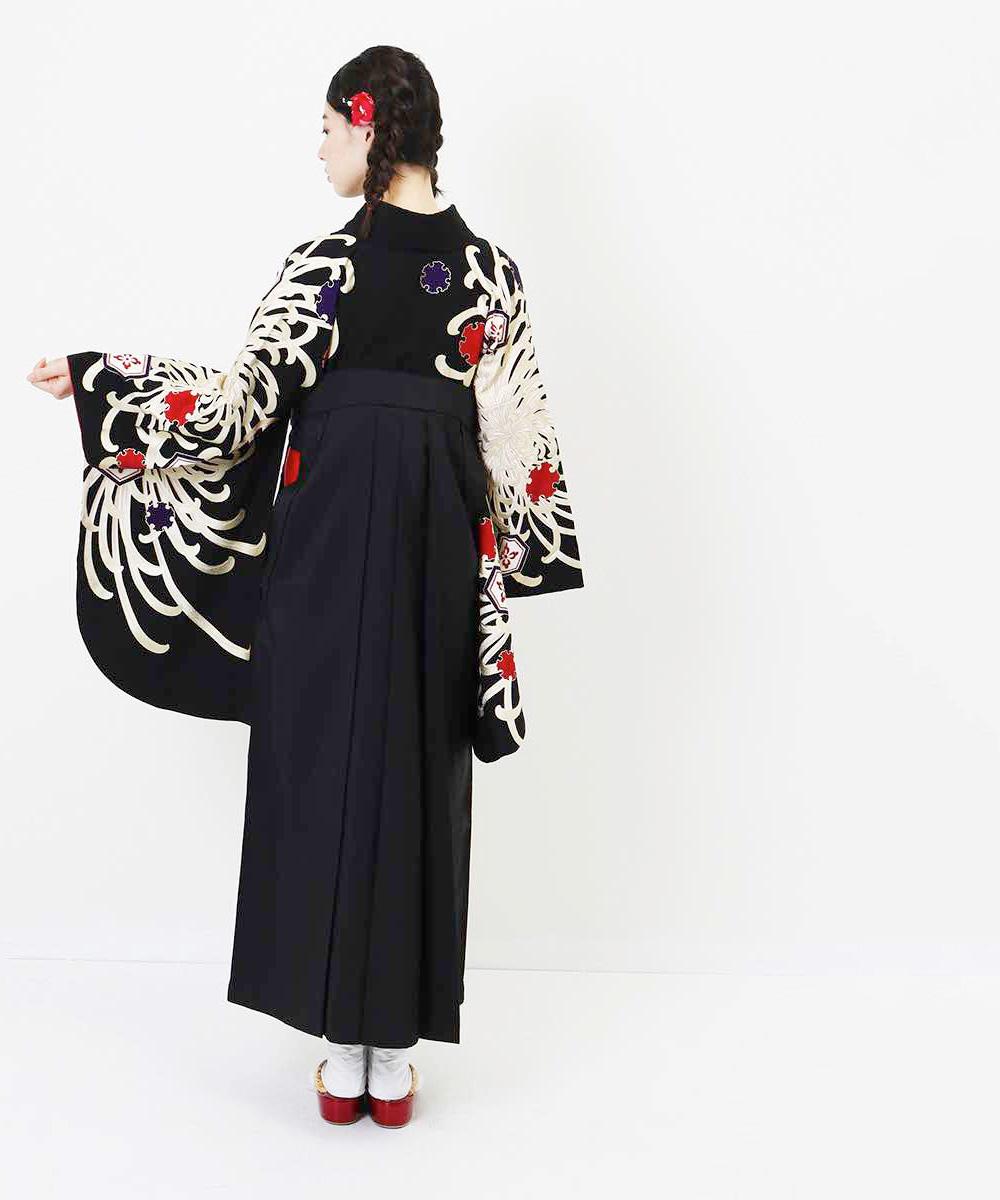 |送料無料|【対応身長157cm〜165cm】【レトロ】卒業式レンタル袴フルセット-1036|マルチカラー|花柄|菊|黒|紫|