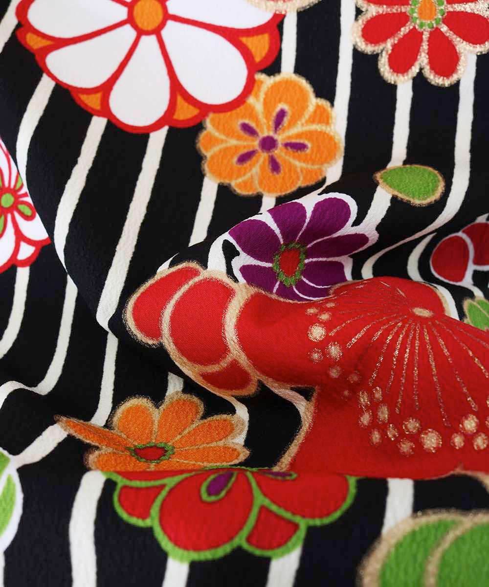 |送料無料|【対応身長150cm〜157cm】【正統派】卒業式レンタル袴フルセット-1173|マルチカラー|花柄|梅|ストライプ|黒|紫|