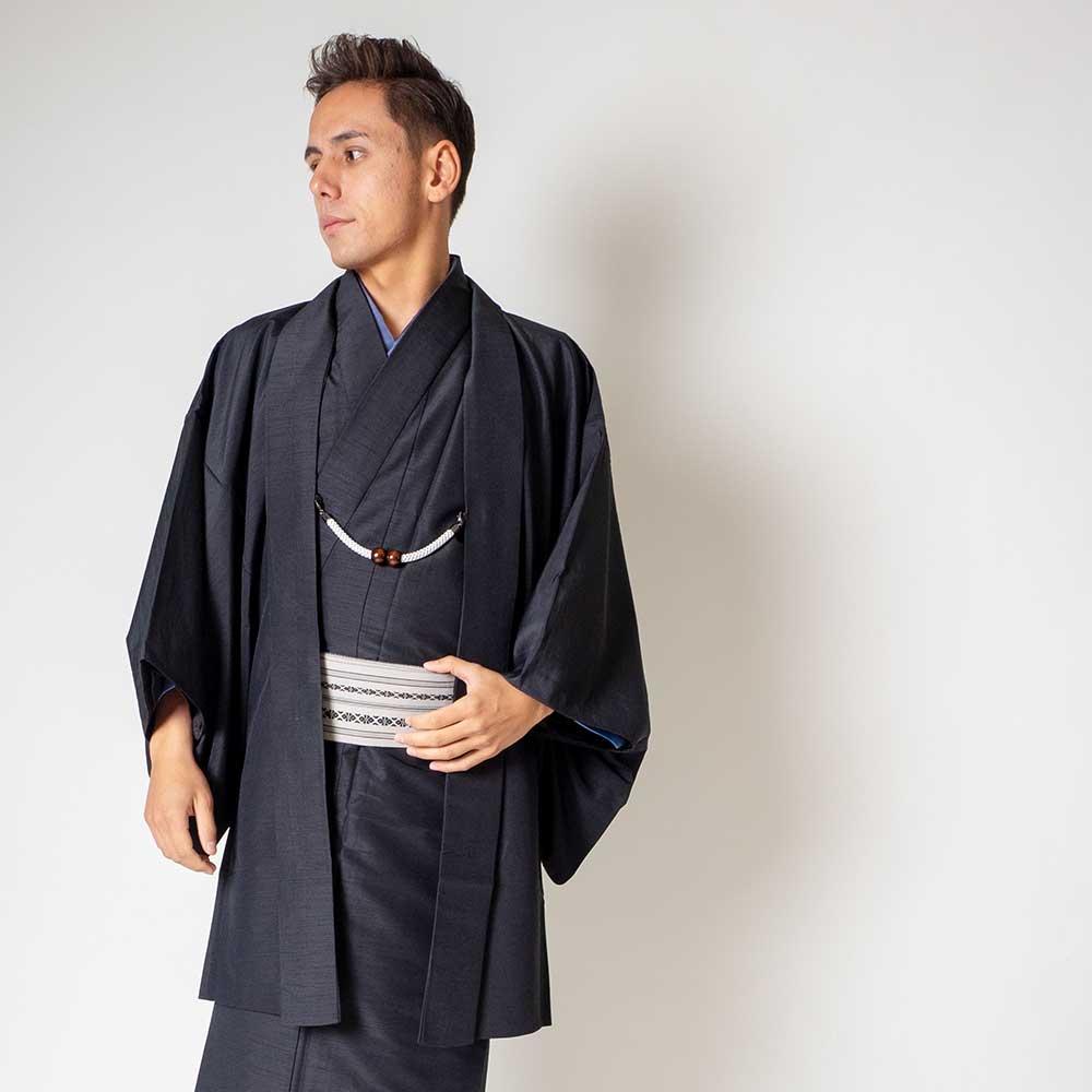 |送料無料|メンズ着物アンサンブル【対応身長170cm〜180cm】【 Lサイズ】フルセットー着物ブラック×羽織ブラック|往復送料無料|和服|