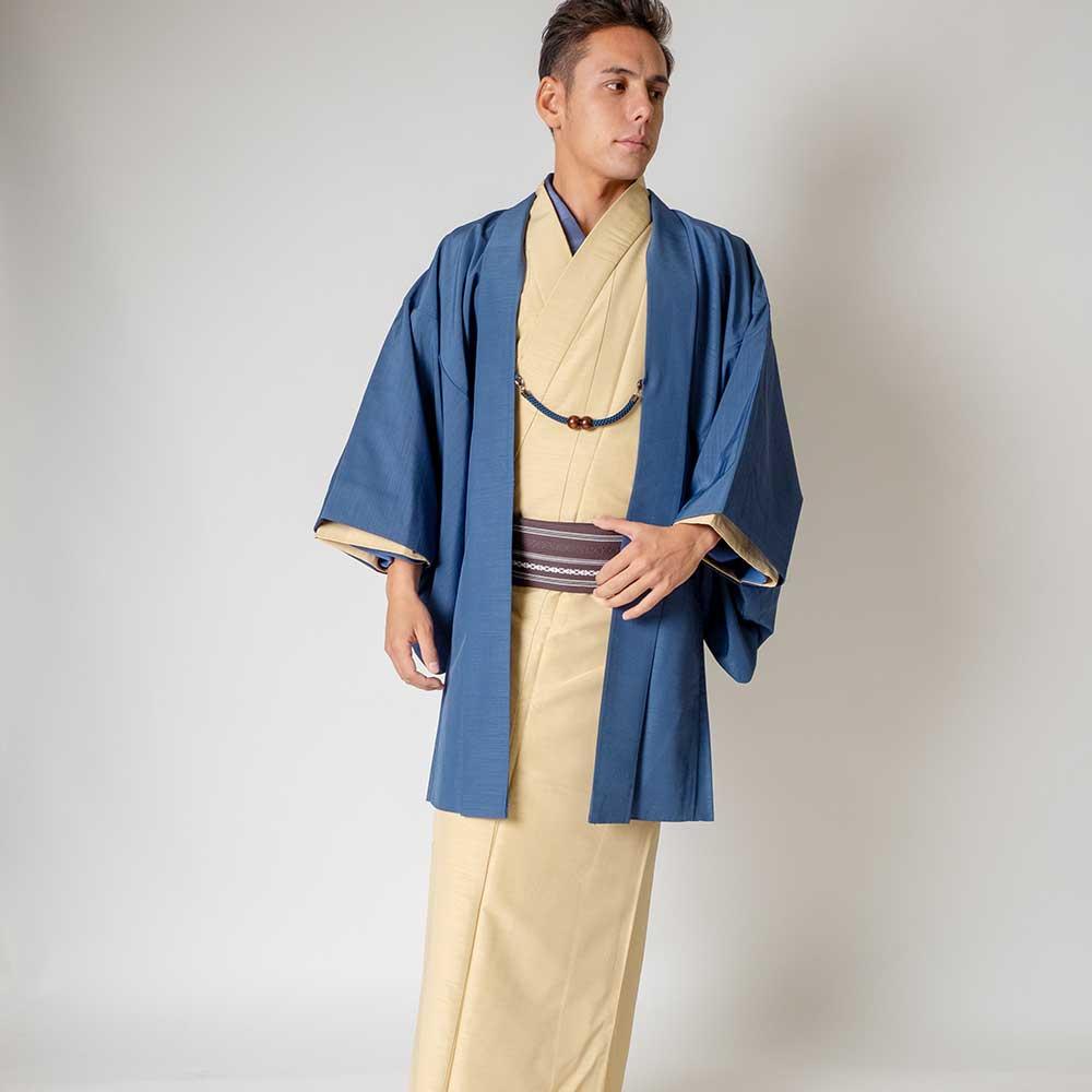 |送料無料|メンズ着物アンサンブル【対応身長180cm〜190cm】【 3Lサイズ】フルセットー着物アイボリー×羽織ブルー|往復送料無料|和服|