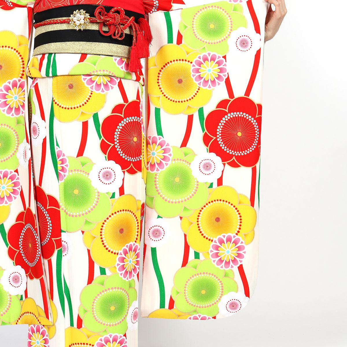 【成人式】 [安心の長期間レンタル]【対応身長155cm〜170cm】レンタル振袖フルセット-736 花柄 レトロ クール系 ポップキュート 黄色系