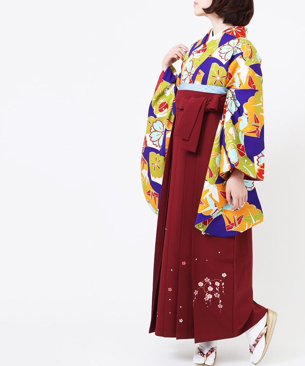 |送料無料|【対応身長165cm〜173cm】【レトロ】卒業式レンタル袴フルセット-1038|マルチカラー|花柄|鶴|紫|緑|オレンジ|臙脂|