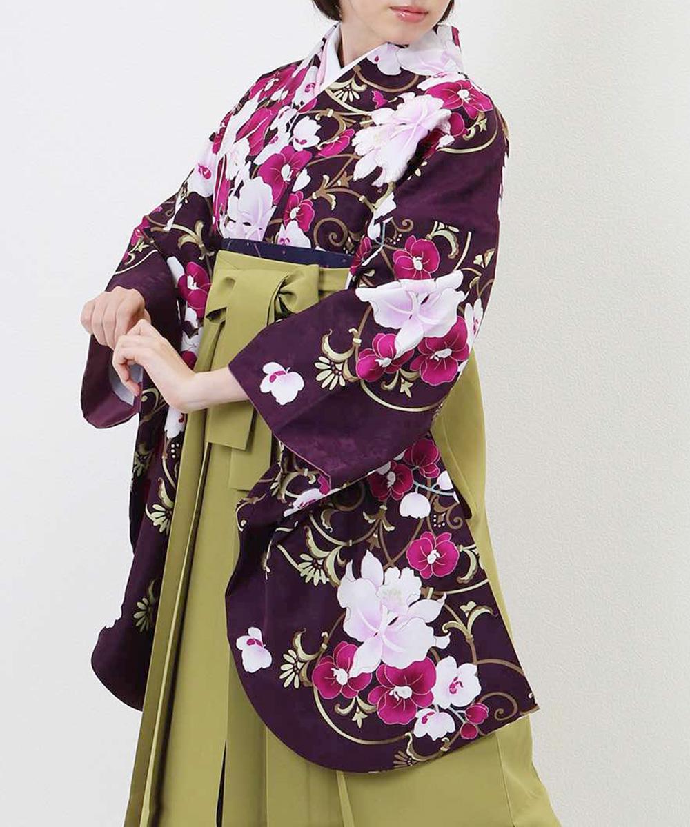 【h】|送料無料|【対応身長157cm〜165cm】【正統派】卒業式レンタル袴フルセット-969|マルチカラー|花柄|百合|蘭|紫|緑|