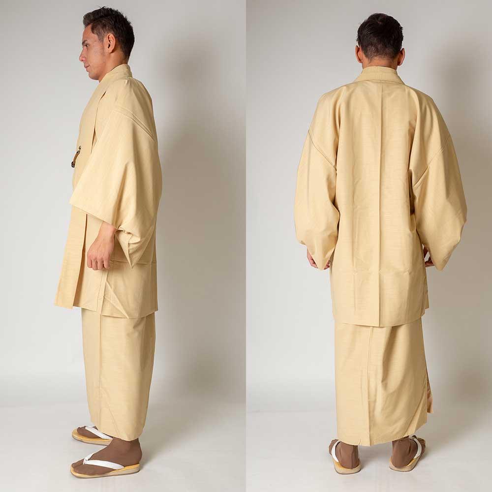 |送料無料|メンズ着物アンサンブル【対応身長175cm〜185cm】【 LLサイズ】フルセットー着物アイボリー×羽織アイボリー|往復送料無料|